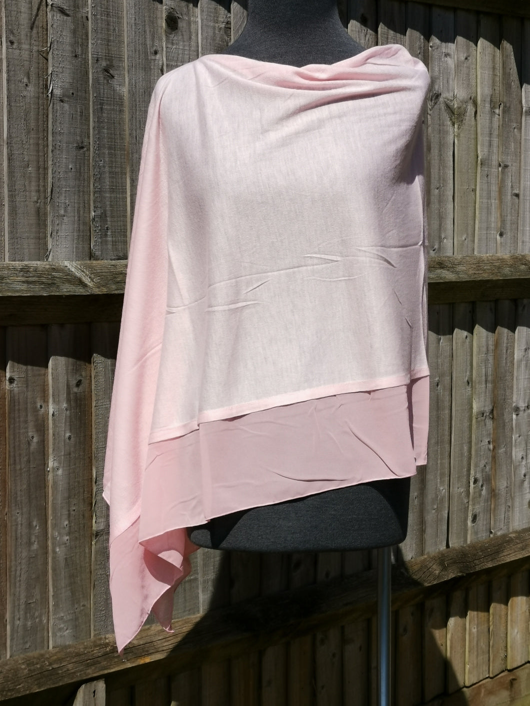 Lightweight Rose Pink Poncho with Chiffon Edge