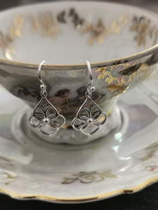 925 Sterling Silver Fancy Floral Open Wire Drop Earrings