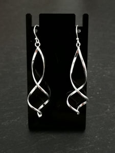 925 Sterling Silver Double Twist Drop Earrings