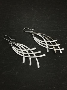925 Sterling Silver Feathered Drop Earrings