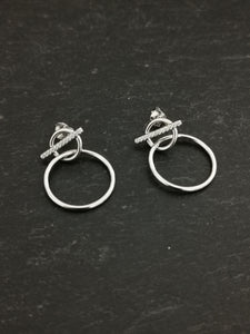 925 Sterling Silver CZ T-Bar and Linked Circle Drop Stud Earrings
