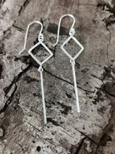 Load image into Gallery viewer, 925 Sterling Silver Plain Diamond and Bar Drop Earrings
