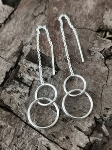 925 Sterling Silver Thread Through Double Linked Circle Earrings