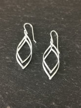 Load image into Gallery viewer, 925 Sterling Silver Half Patterned Double Interlinked Teardrop Twist Drop Earrings
