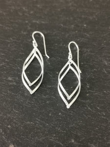 925 Sterling Silver Half Patterned Double Interlinked Teardrop Twist Drop Earrings