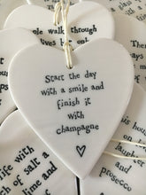 Load image into Gallery viewer, East of India Hanging Porcelain Heart - Start The Day