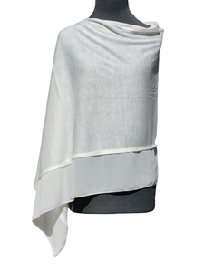 Lightweight Ivory White Poncho with Chiffon Edge