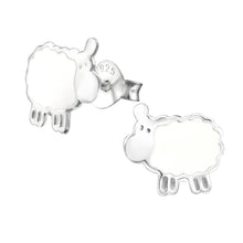 Load image into Gallery viewer, 925 Sterling Silver White Sheep Stud Earrings