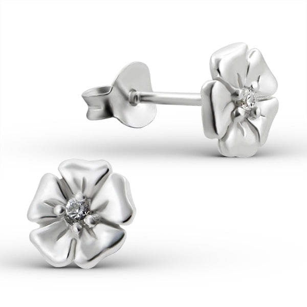 925 Sterling Silver of Flower with Cubic Zirconia Stud Earrings
