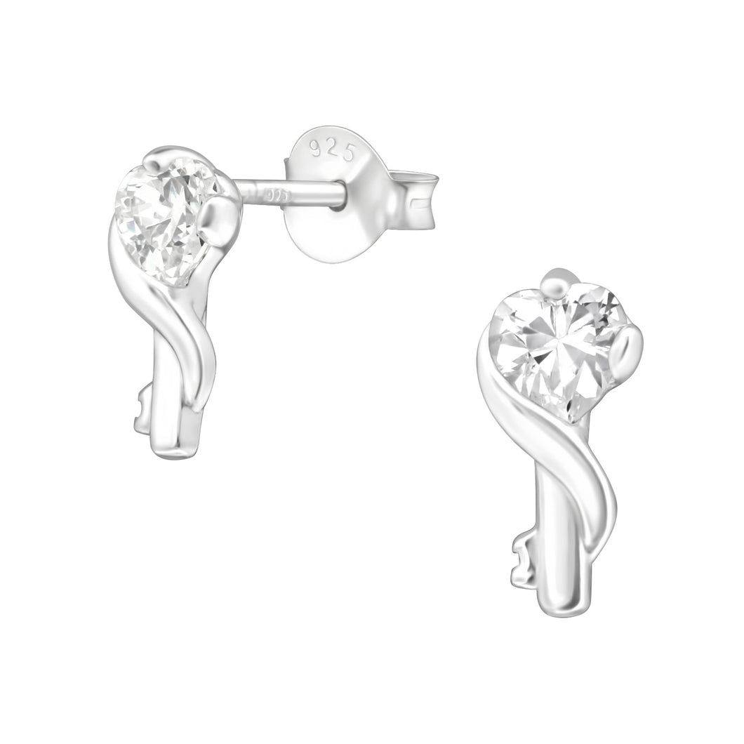 925 Sterling Silver Contemporary Twist with Cubic Zirconia Stud Earrings