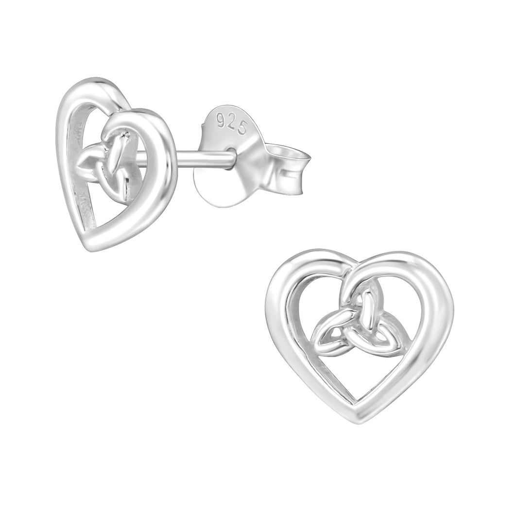 925 Sterling Silver Celtic Knot in Heart Stud Earrings