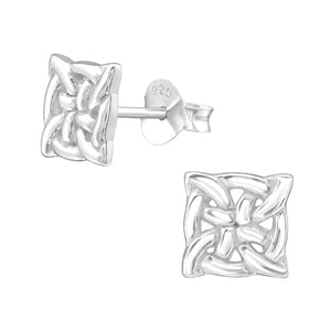 925 Sterling Silver Square Celtic Knot Stud Earrings