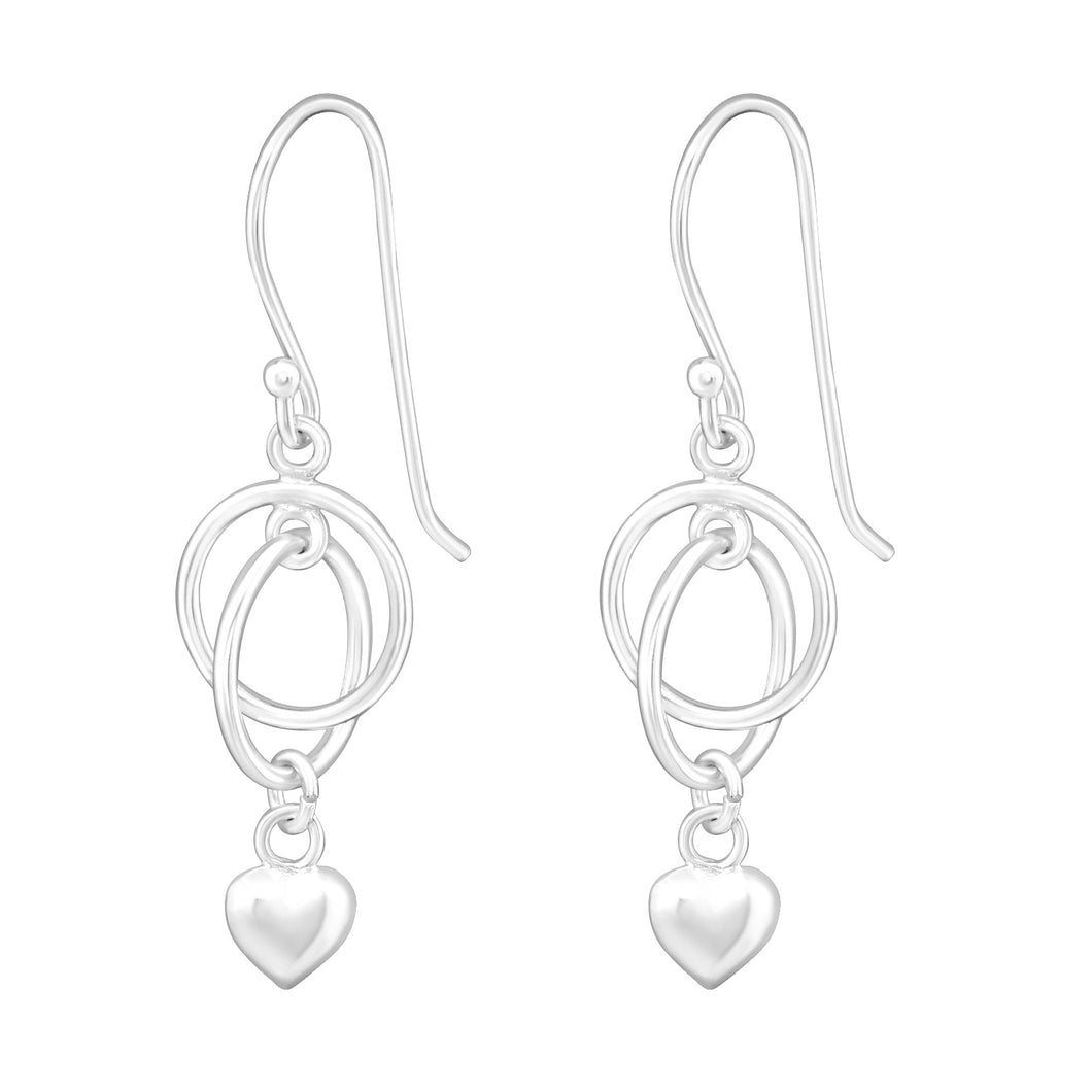 925 Sterling Silver Interlinked Circle Drop Earrings with Heart