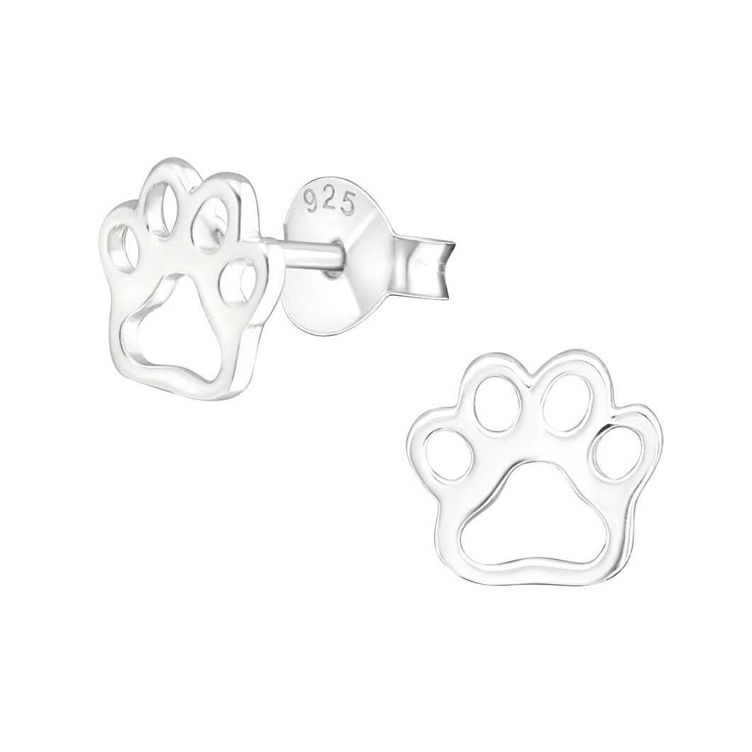 925 Sterling Silver Hollow Paw Print Stud Earrings