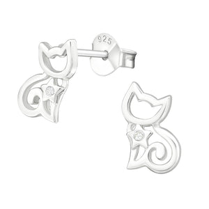 925 Sterling Silver Silhouette Cat with Cubic Zirconia Stud Earrings
