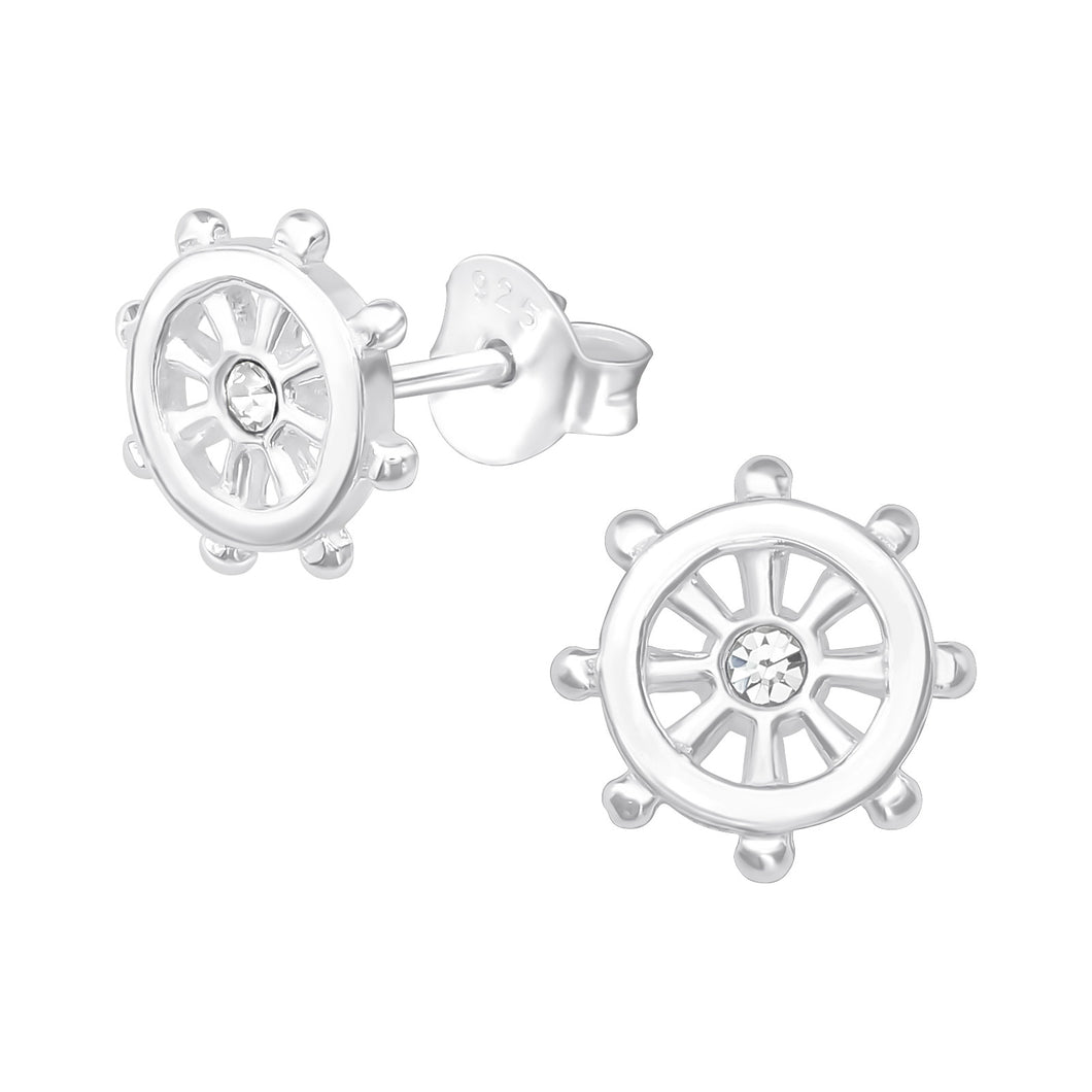 925 Sterling Silver Ships Wheel with Cubic Zirconia Stud Earrings