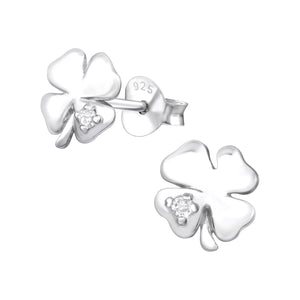 925 Sterling Silver Clover Leaf Cubic Zirconia Stud Earrings