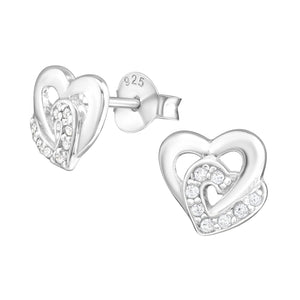 925 Sterling Silver Double Staggered Heart Cubic Zirconia Stud Earrings