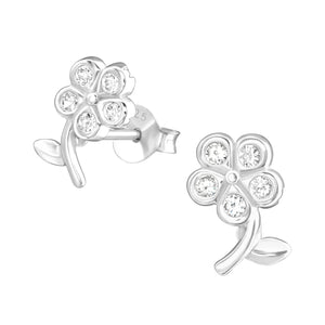 925 Sterling Silver Flower with Clear Cubic Zirconia Stud Earrings