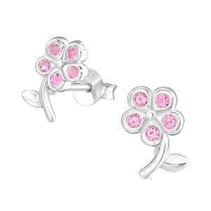 925 Sterling Silver Flower with 5 Pink Cubic Zirconia Stud Earrings