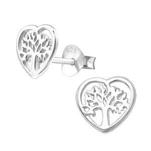925 Sterling Silver Tree of Life in Heart Stud Earrings