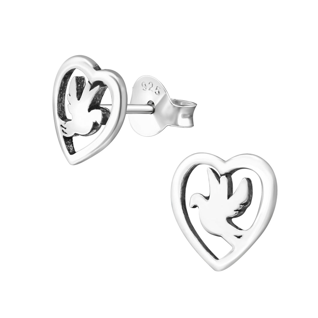925 Sterling Silver Dove in Heart Stud Earrings