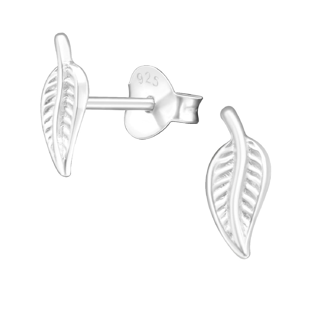 925 Sterling Silver Small Leaf Stud Earrings