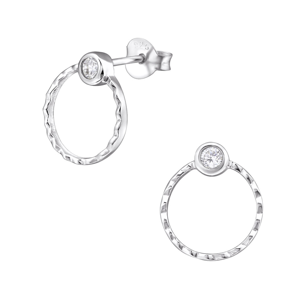925 Sterling Silver Circle & Cubic Zirconia Stud Earrings