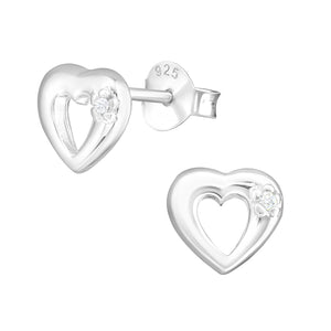 925 Sterling Silver Closed Heart with Cubic Zirconia Stud Earrings