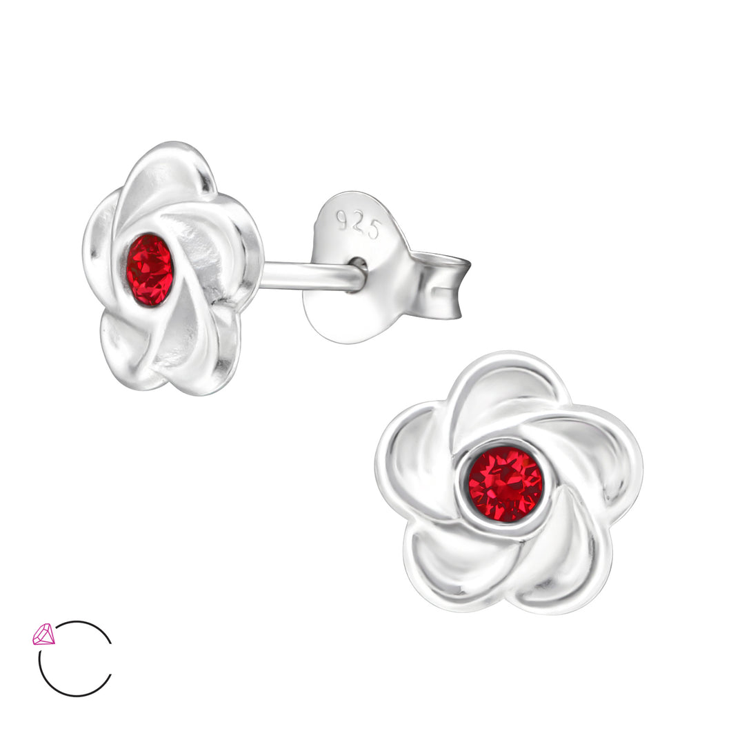 925 Sterling Silver Flower with Red Swarovski® Crystal Stud Earrings