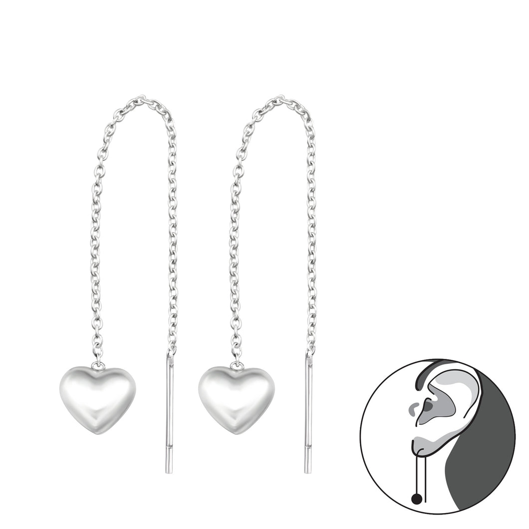 925 Sterling Silver Thread Through Heart Earrings