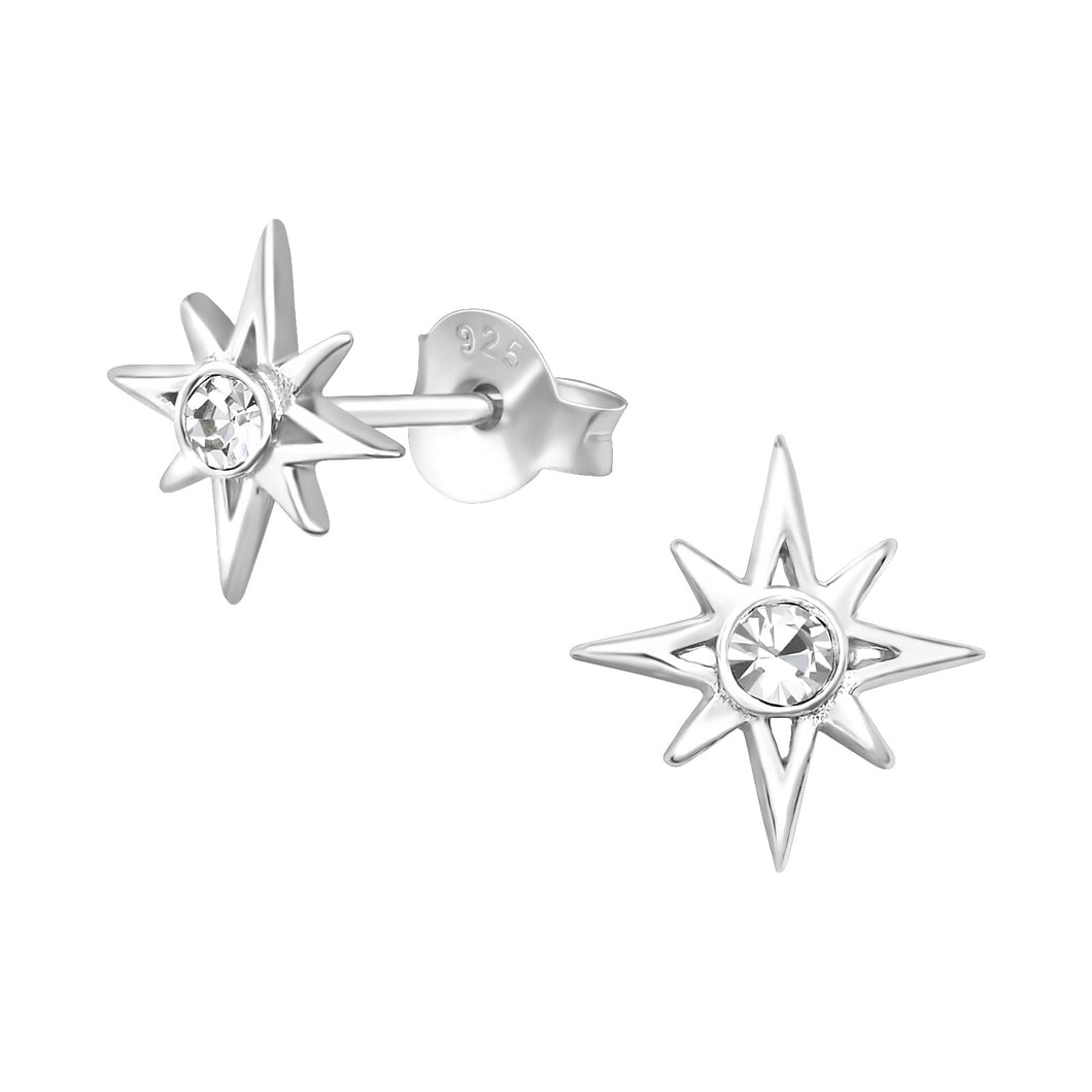 925 Sterling Silver Star with Cubic Zirconia Stud Earrings