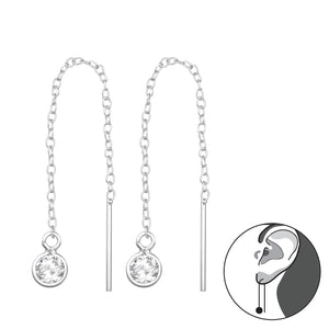 925 Sterling Silver Thread Through Cubic Zirconia Droplet Earrings