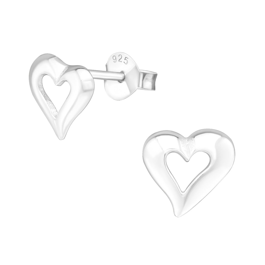 925 Sterling Silver Hollow Heart Stud Earrings