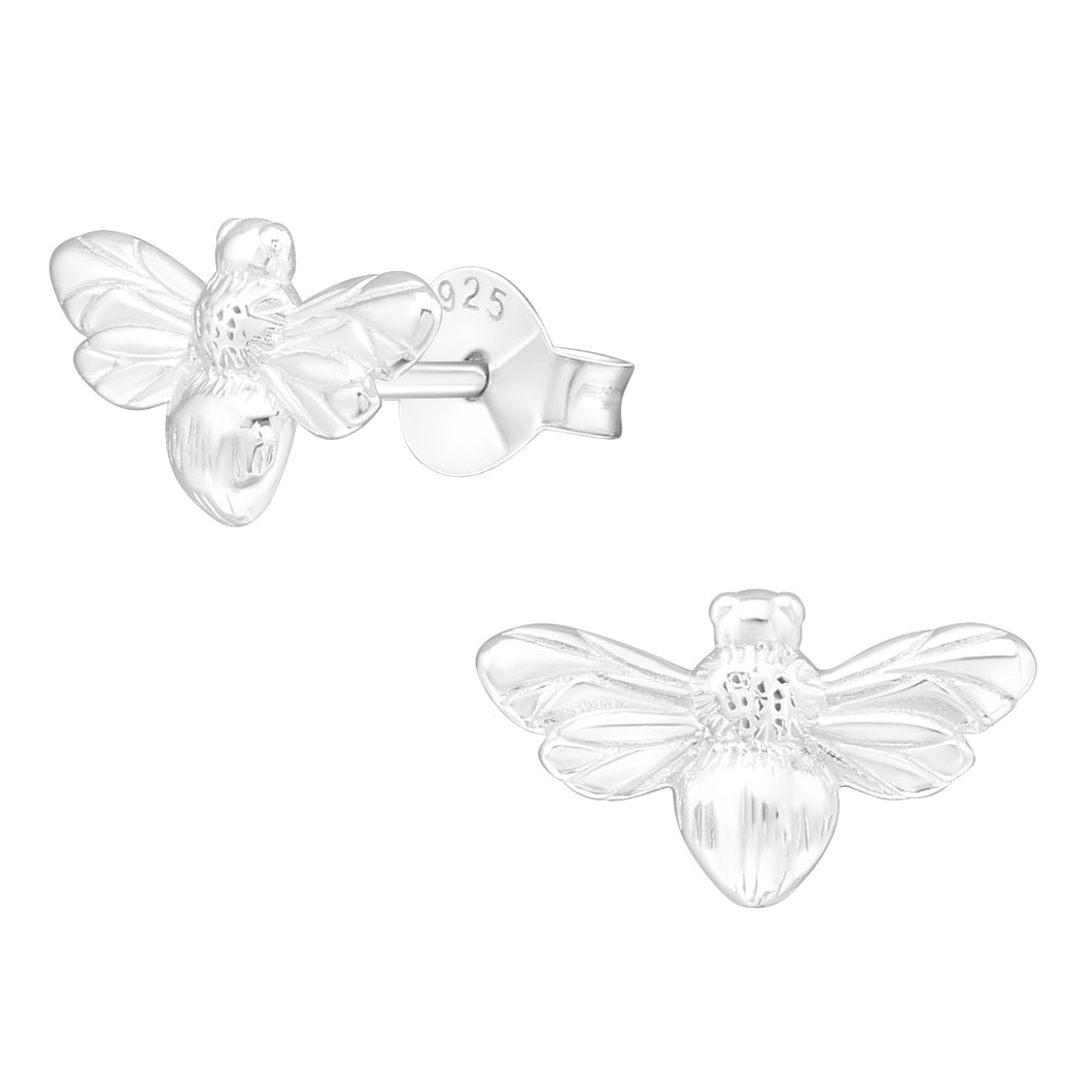 925 Sterling Silver Bee Stud Earrings