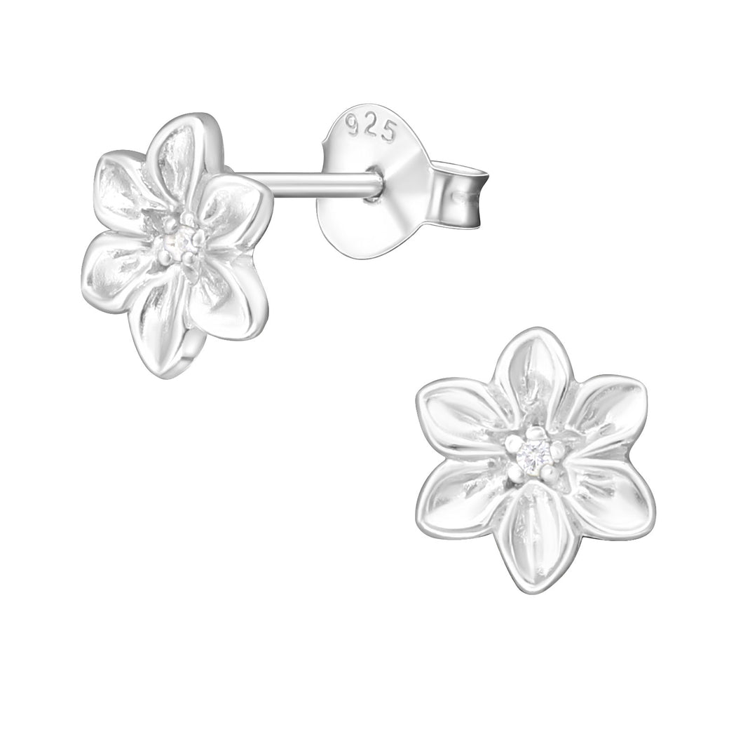 925 Sterling Silver Flower Stud with Cubic Zirconia Centre Earrings