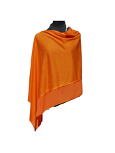 Load image into Gallery viewer, Lightweight Orange Poncho with Chiffon Edge