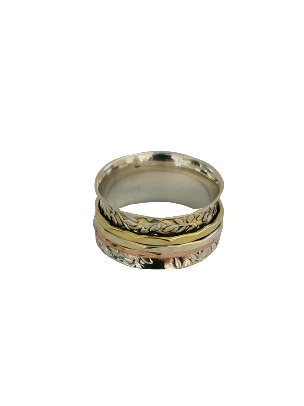 925 Sterling Silver Spinning Ring (Worry Ring) - Oxidized Floral Band with Brass/Silver/Copper Rings