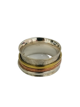 Load image into Gallery viewer, 925 Sterling Silver Spinning Ring (Worry Ring) - Oxidized Brushed Silver Band with Copper/Brass/Silver Rings