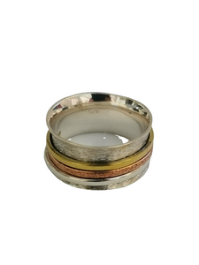 925 Sterling Silver Spinning Ring (Worry Ring) - Oxidized Brushed Silver Band with Copper/Brass/Silver Rings