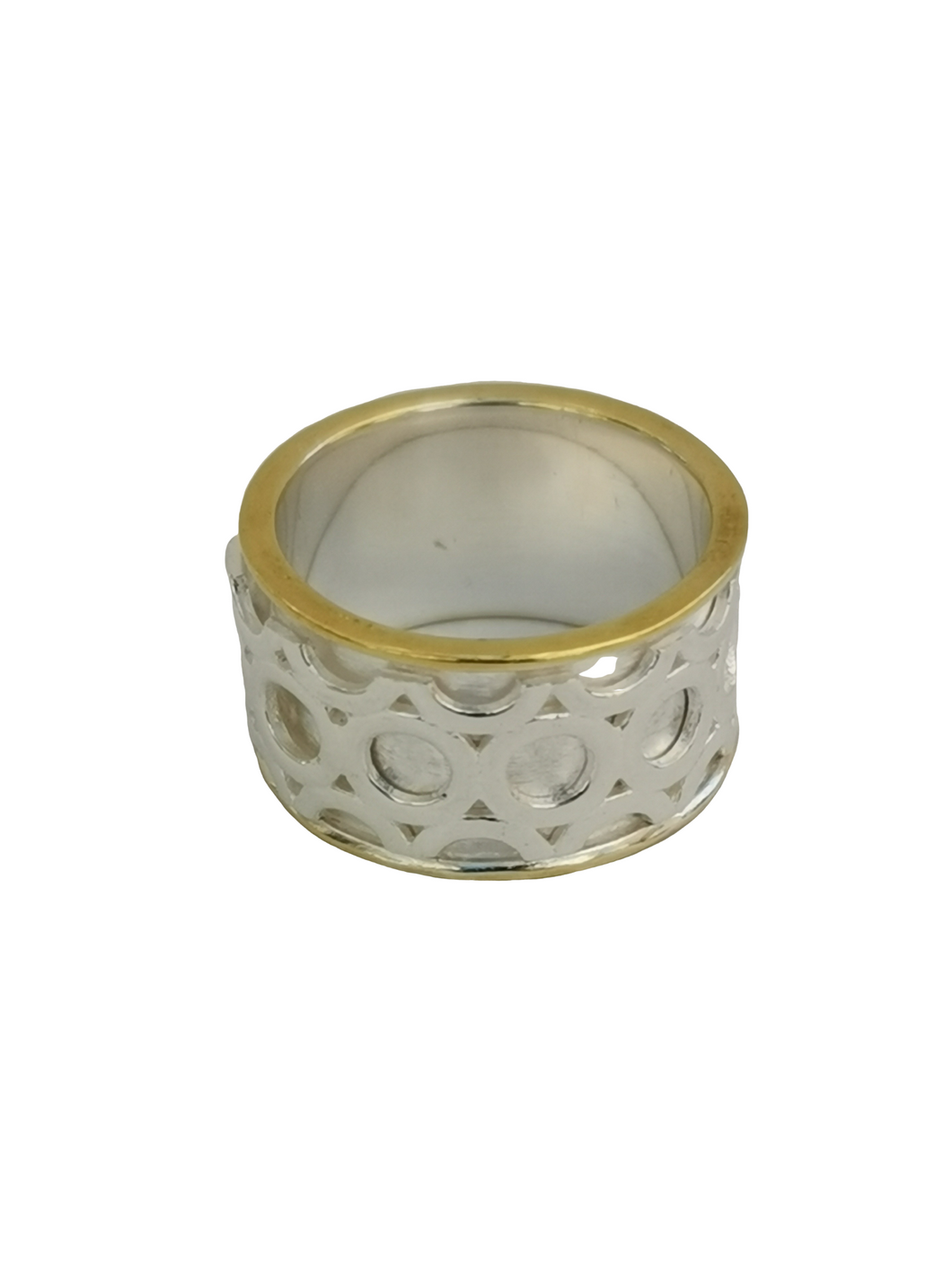 925 Sterling Silver Spinning Ring (Worry Ring) - Silver Ring with Brass Plate Edges & Wide Silver Circles Spinning Band