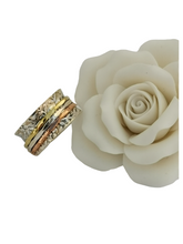 Load image into Gallery viewer, 925 Sterling Silver Spinning Ring (Worry Ring) - Oxidized Floral Band with Brass/Silver/Copper Rings