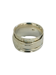 925 Sterling Silver Spinning Ring (Worry Ring) - Hammered Band with 3 Silver Hammered Rings
