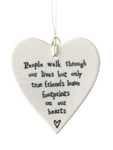 Load image into Gallery viewer, East of India Hanging Porcelain Heart - People Walk