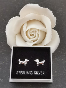 925 Sterling Silver Dachshund (Sausage Dog) Stud Earrings
