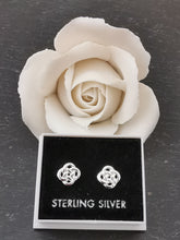 Load image into Gallery viewer, 925 Sterling Silver Diamond Celtic Knot Stud Earrings