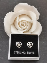 Load image into Gallery viewer, 925 Sterling Silver Dove in Heart Stud Earrings