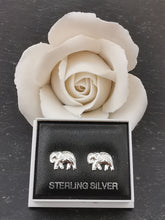 Load image into Gallery viewer, 925 Sterling Silver Elephant Stud Earrings