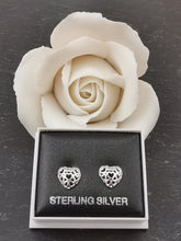 Load image into Gallery viewer, 925 Sterling Silver Filigree Heart Stud Earrings