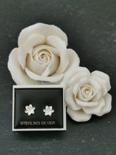 Load image into Gallery viewer, 925 Sterling Silver Flower Stud with Cubic Zirconia Centre Earrings
